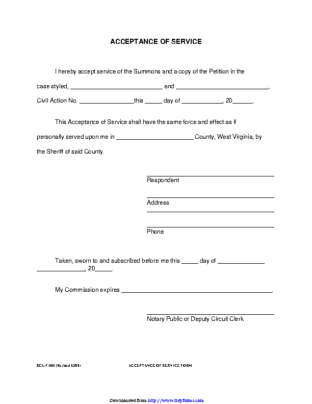 West Virginia Acceptance Of Service Form