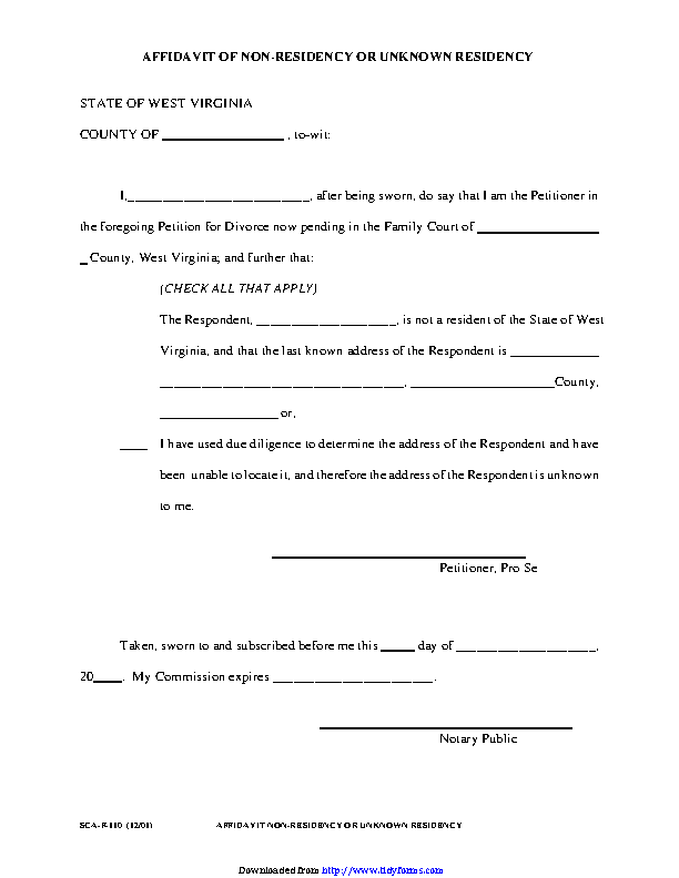 West Virginia Affidavit Of Non Residency Or Unknown Residency Form