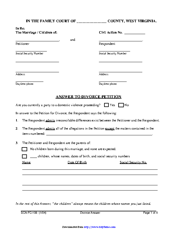 West Virginia Answer To Divorce Petition Form