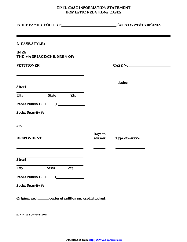 West Virginia Civil Case Information Statement Form