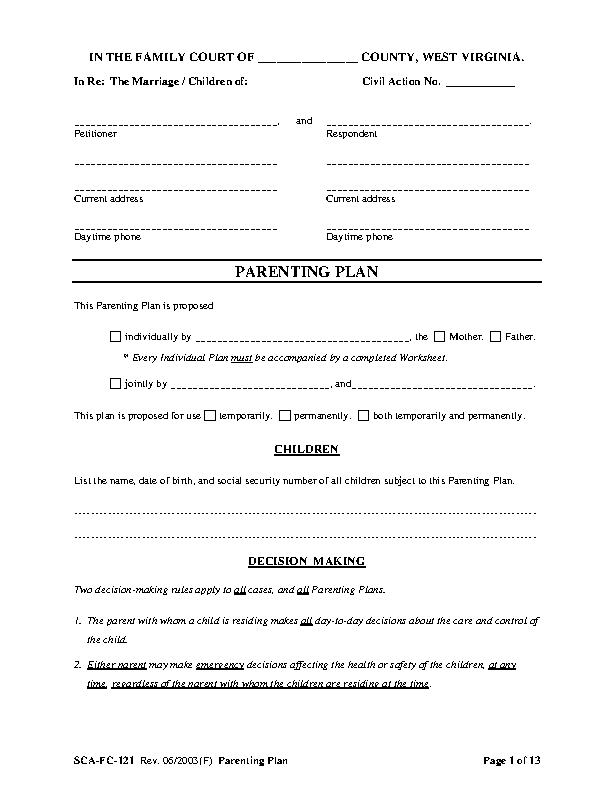 West Virginia Family Court Parenting Plan Form