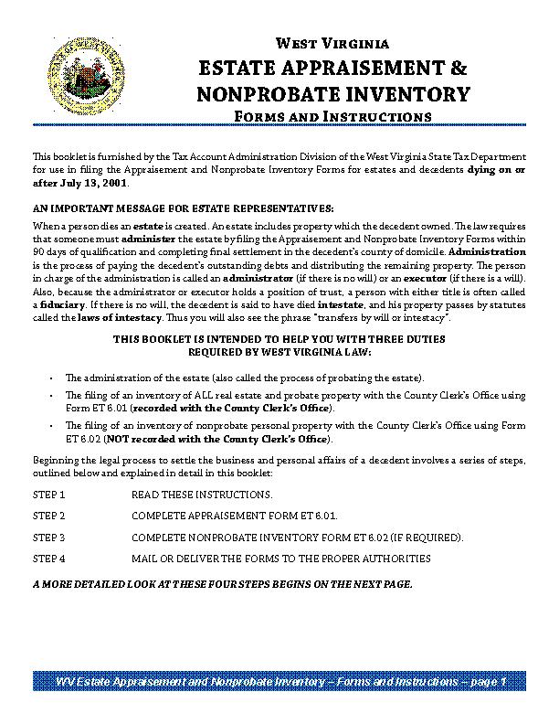 West Virginia Inventory Form