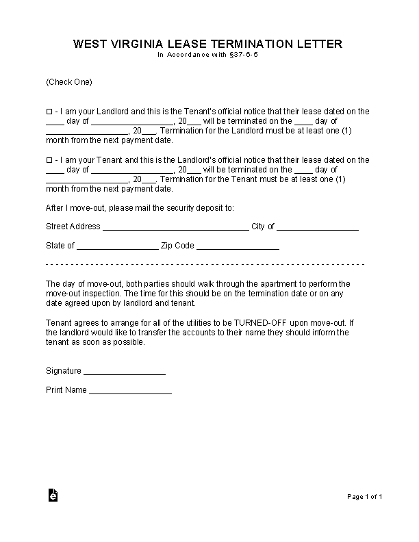 West Virginia Lease Termination Letter Form