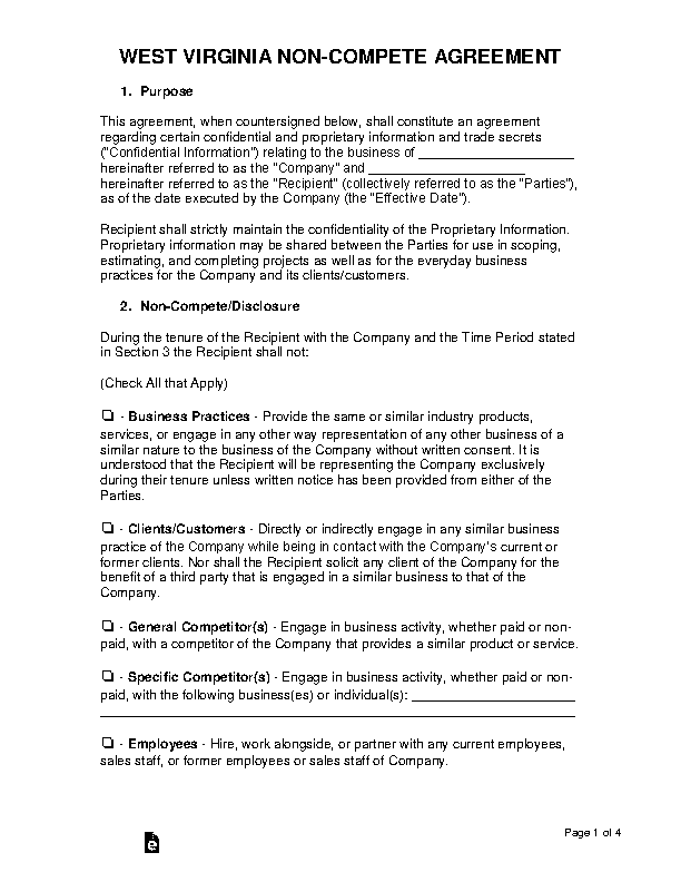 West Virginia Non Compete Agreement Template