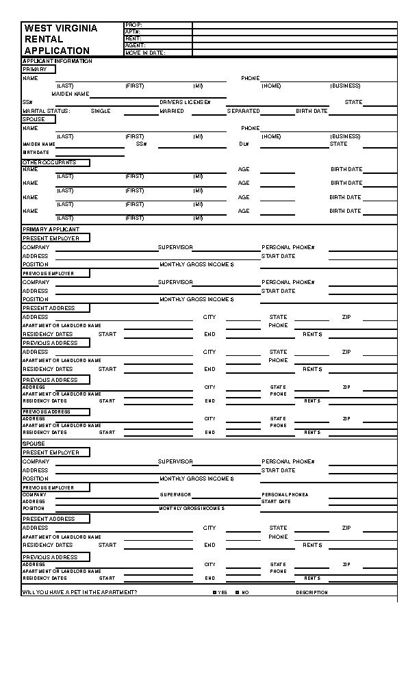 West Virginia Rental Application Form