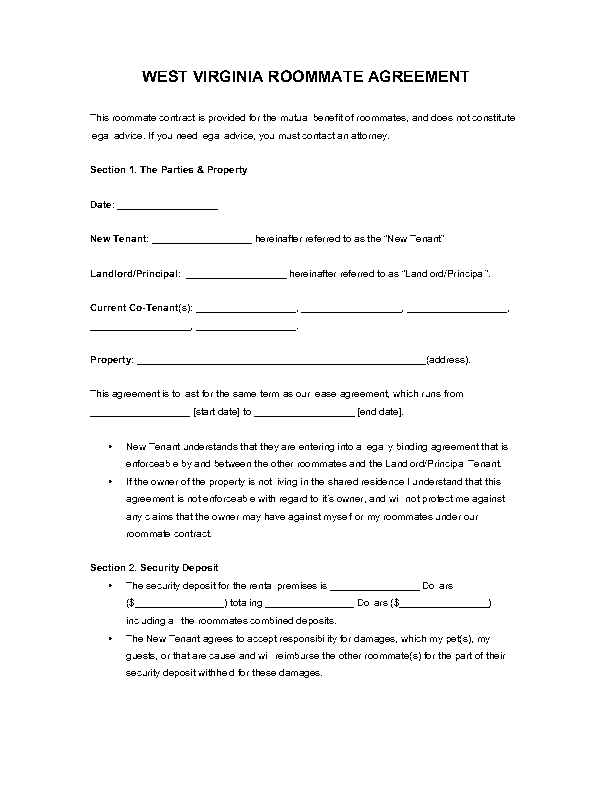 West Virginia Roommate Agreement Form