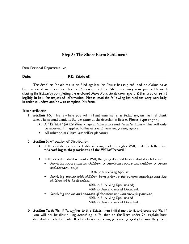 West Virginia Short Form Settlement