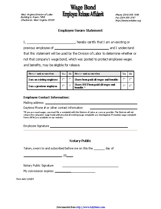 West Virginia Wage Bond Employee Release Affidavit Form