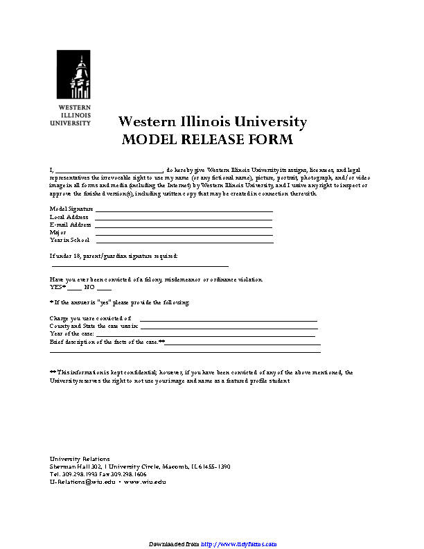 Western Illinois University Model Release Form