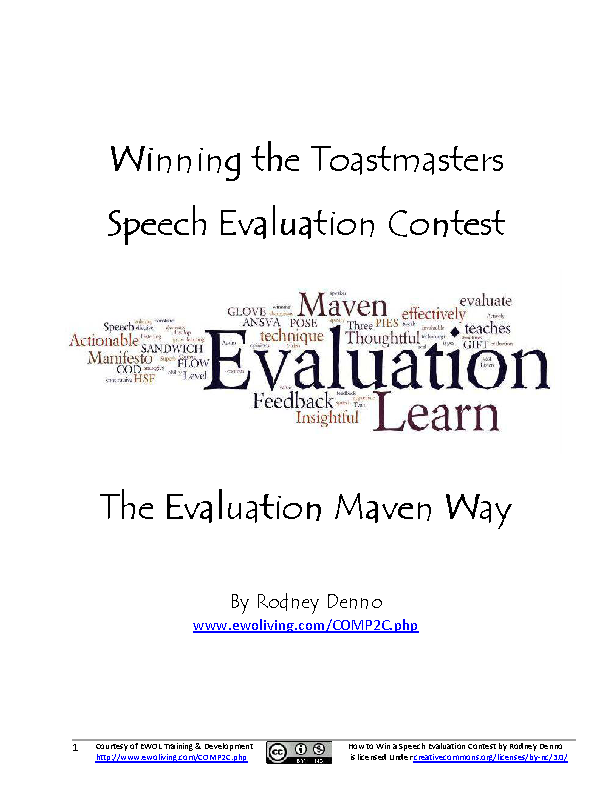 Winning The Toastmasters Speech Evaluation Contest Pdf Download