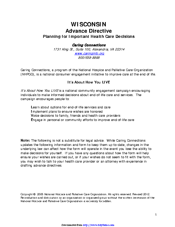 Wisconsin Advance Health Care Directive Form