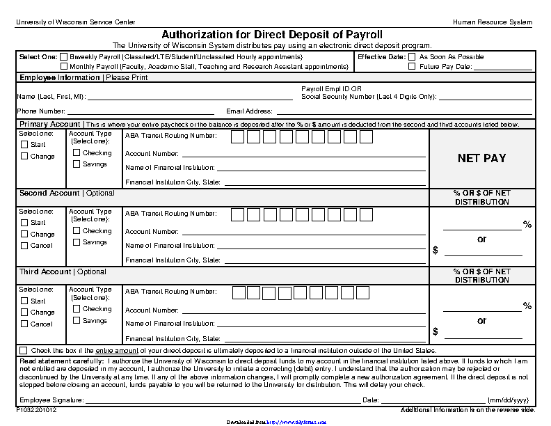 Wisconsin Direct Deposit Form 3