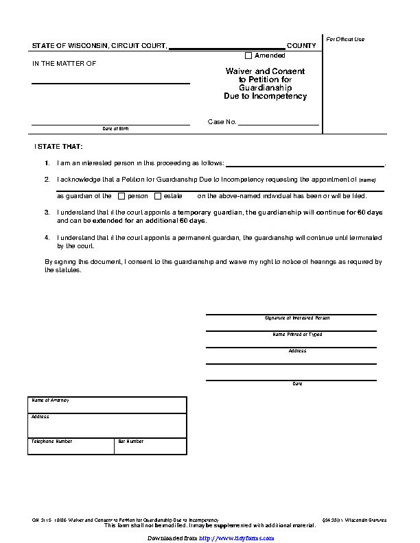Wisconsin Guardianship Form 2