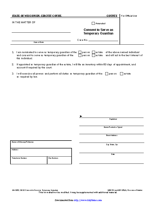Wisconsin Guardianship Form 3