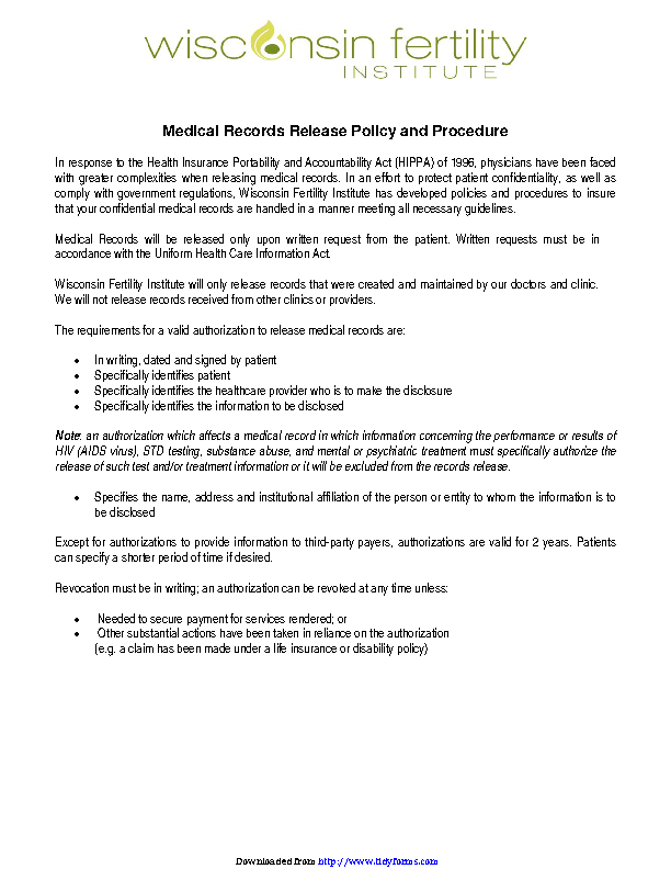 Wisconsin Medical Records Release Form 2