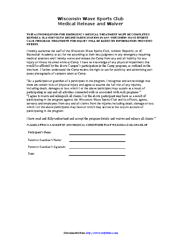 Wisconsin Medical Release Form 2