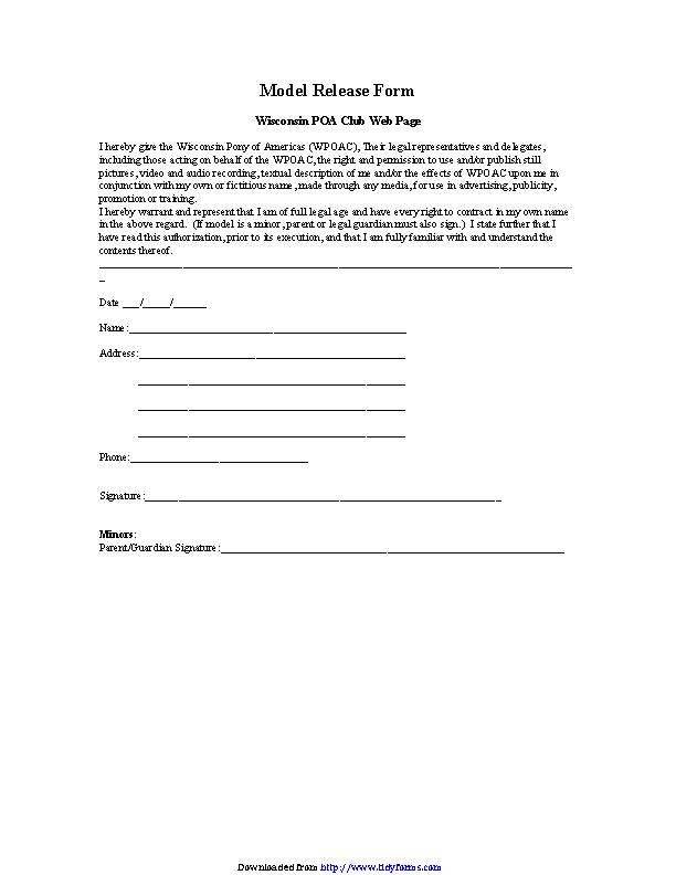 Wisconsin Model Release Form 1