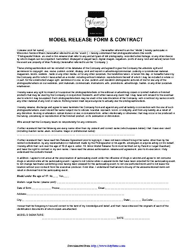 Wisconsin Model Release Form 2