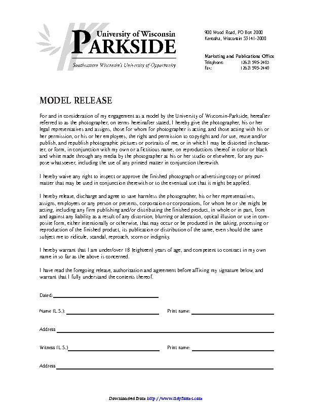Wisconsin Model Release Form 4