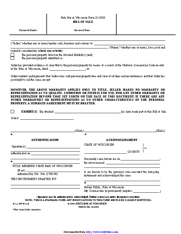 Wisconsin Personal Property Bill Of Sale Form