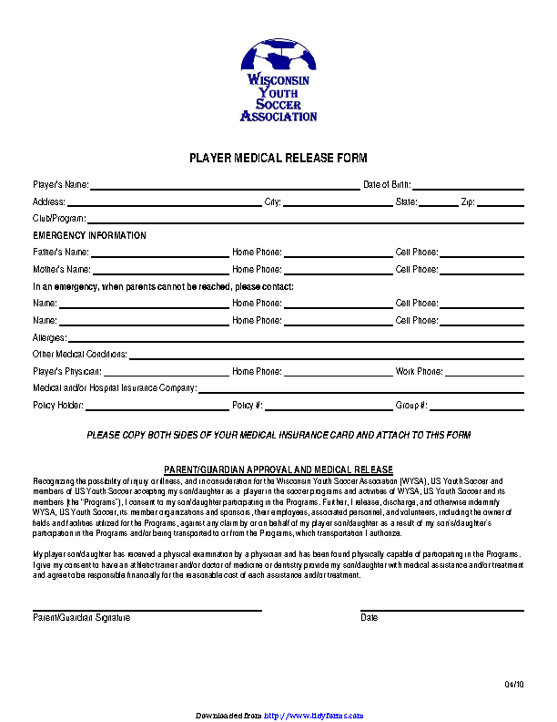 Wisconsin Player Medical Release Form