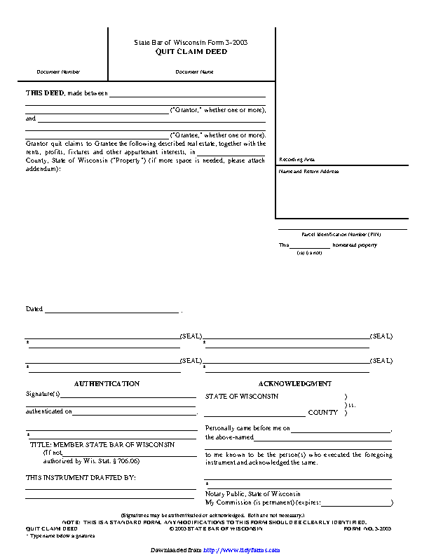 Wisconsin Quitclaim Deed Form 1