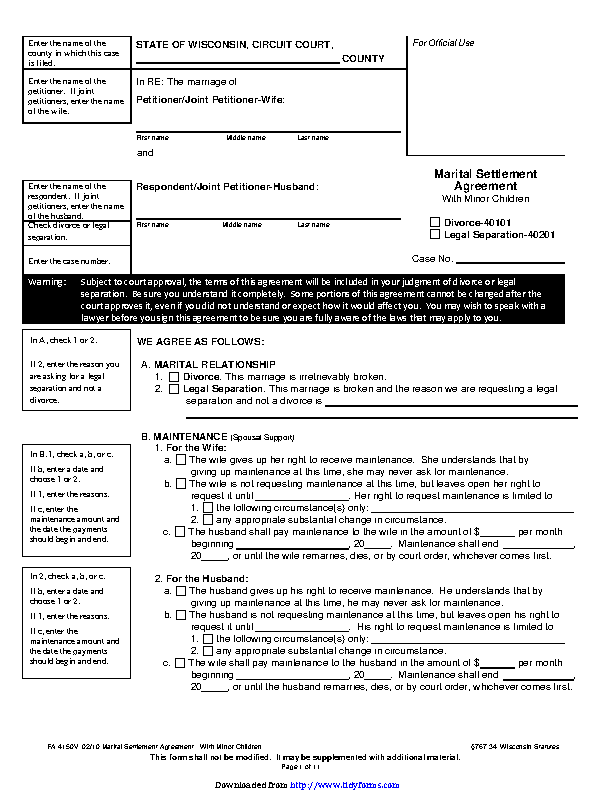 Wisconsin Separation Agreement Template