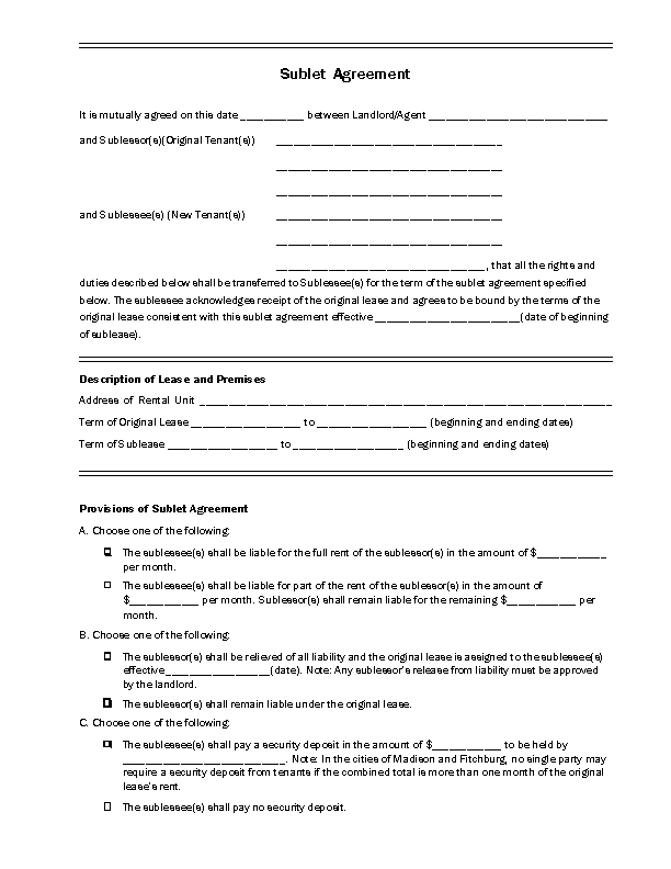 Wisconsin Sublease Agreement Form