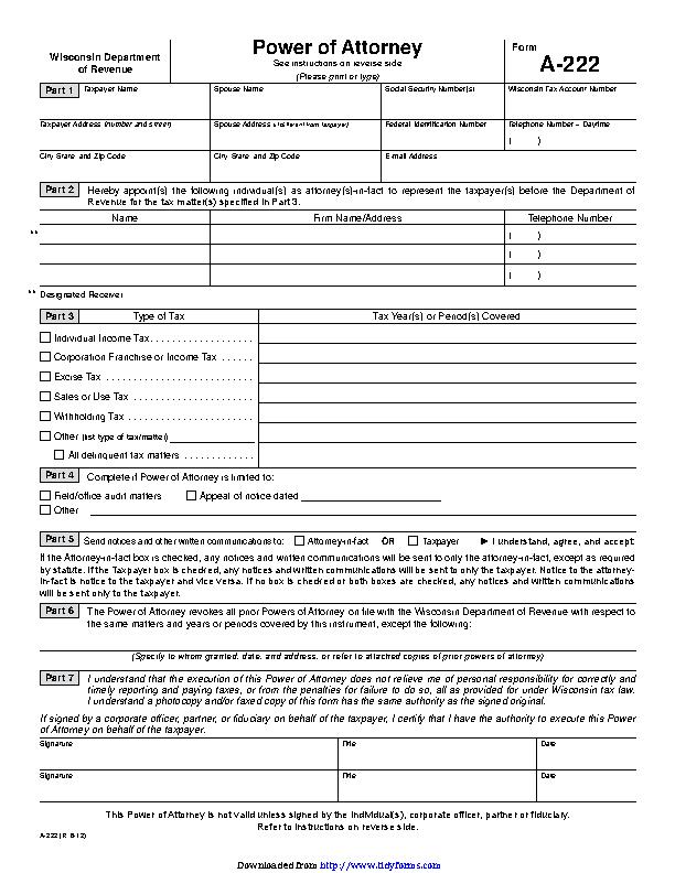 Wisconsin Tax Power Of Attorney Form