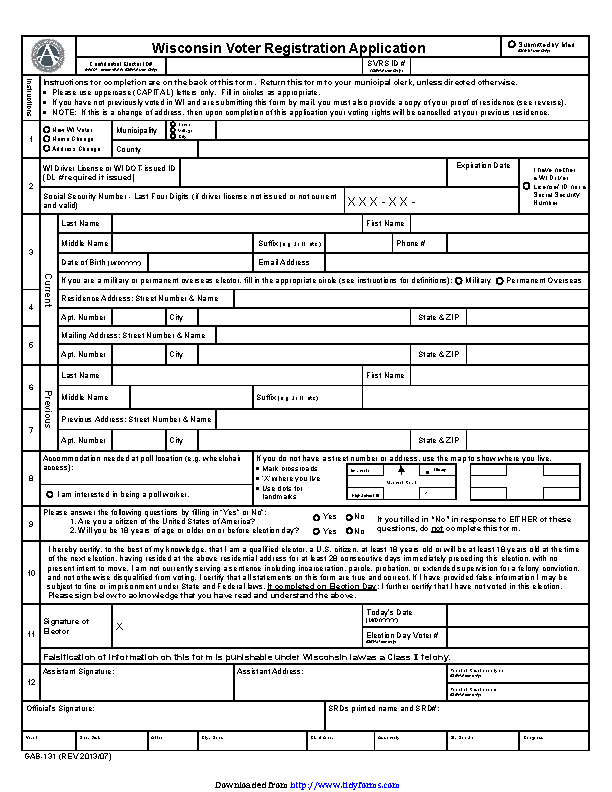 Wisconsin Voter Registration Application