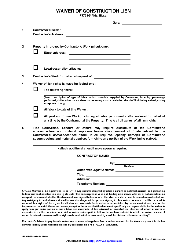 Wisconsin Waiver Of Construction Lien