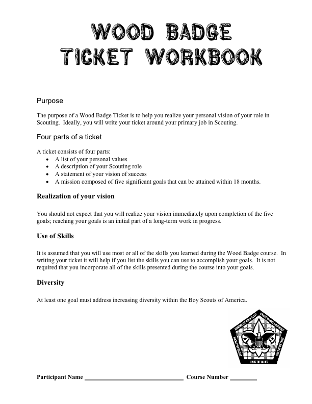 Wood Badge Ticket PDF