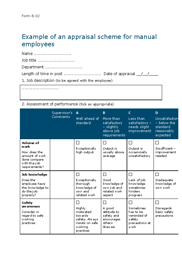 Word Appraisal Form For Manual Workers Free Word Download