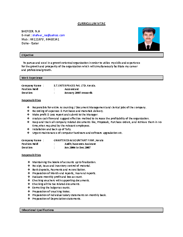 Word Format Charted Accountant Resume