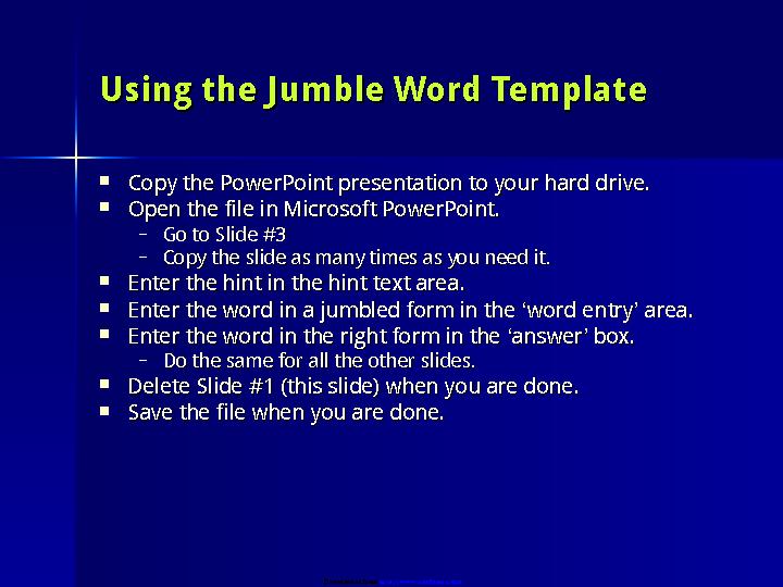Word Jumble Game Template