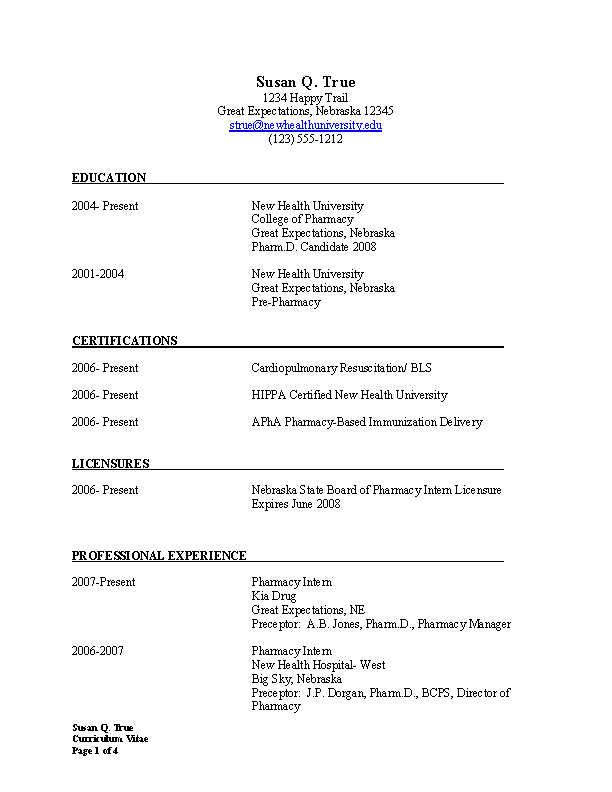 Word Pharmacist Resume Templates