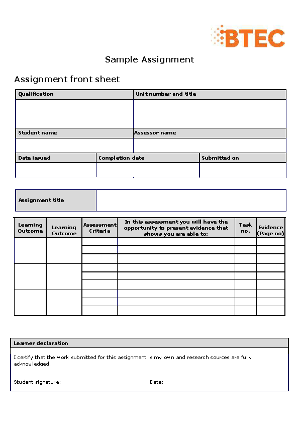 Work Assignment Template