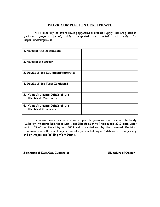 Work Completion Certificate Template2