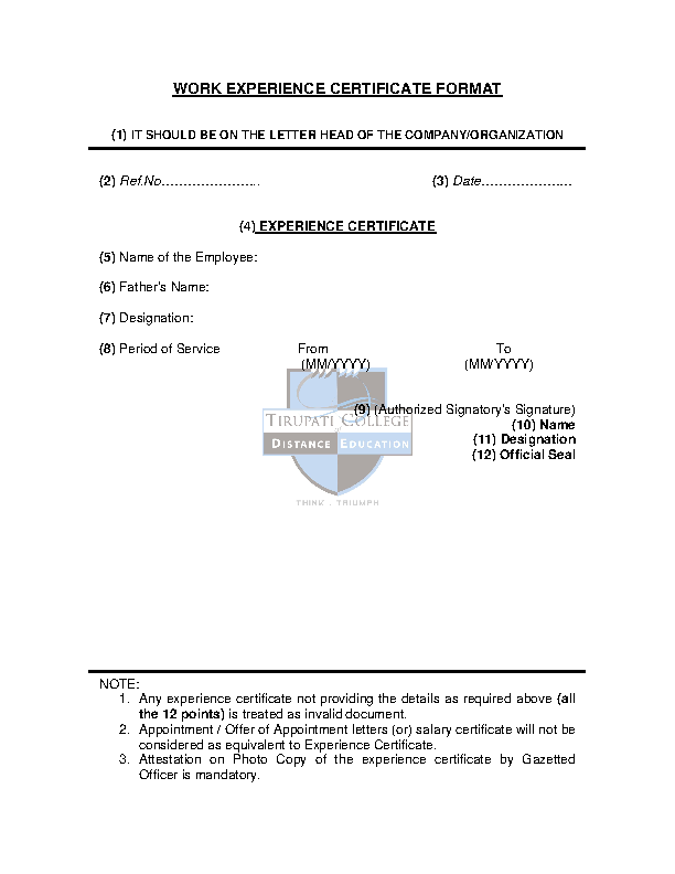 Work Experience Certificate Template2