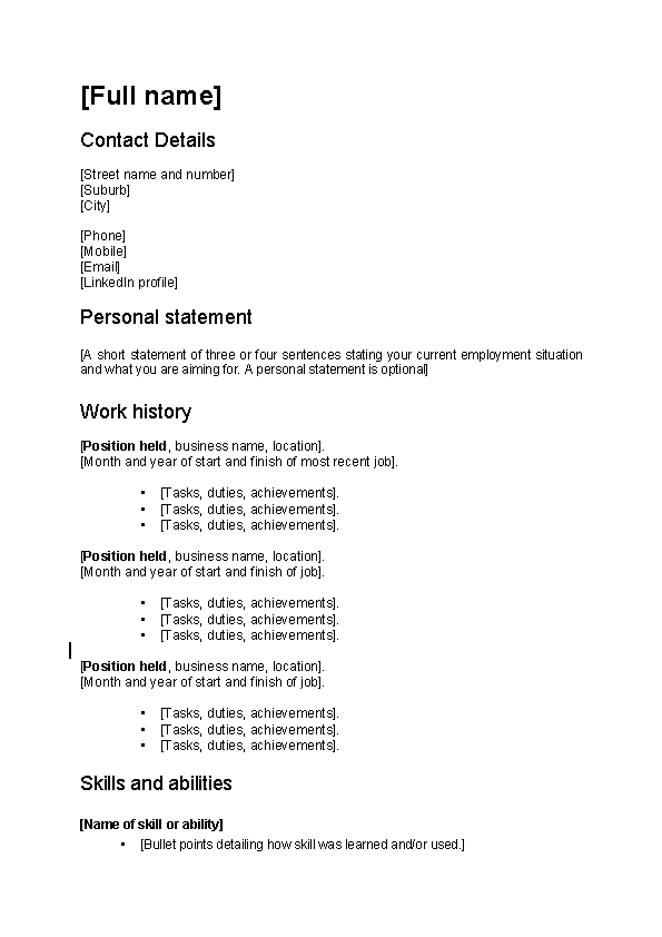 Work Focused Cv Sample