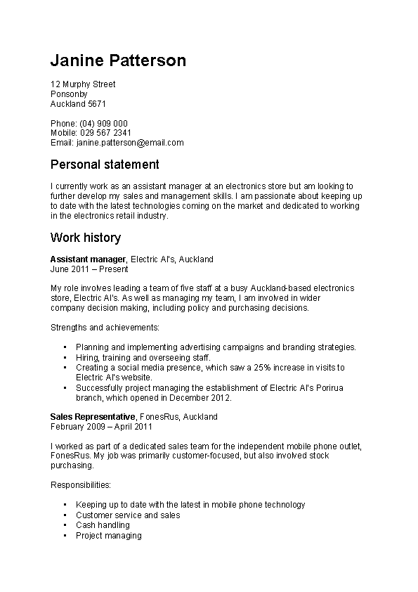 Work Focused Cv Template
