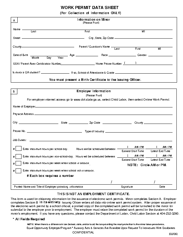 Work Permit Data Sheet