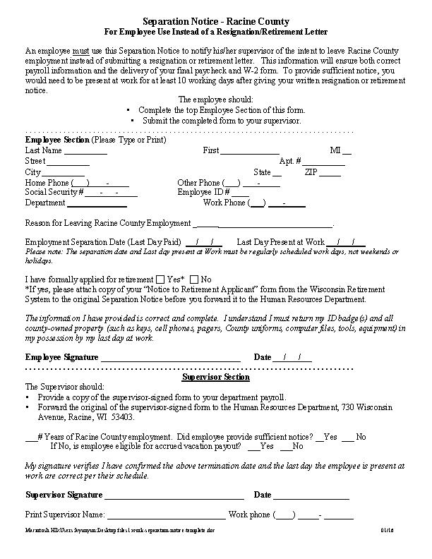 Work Separation Notice Template