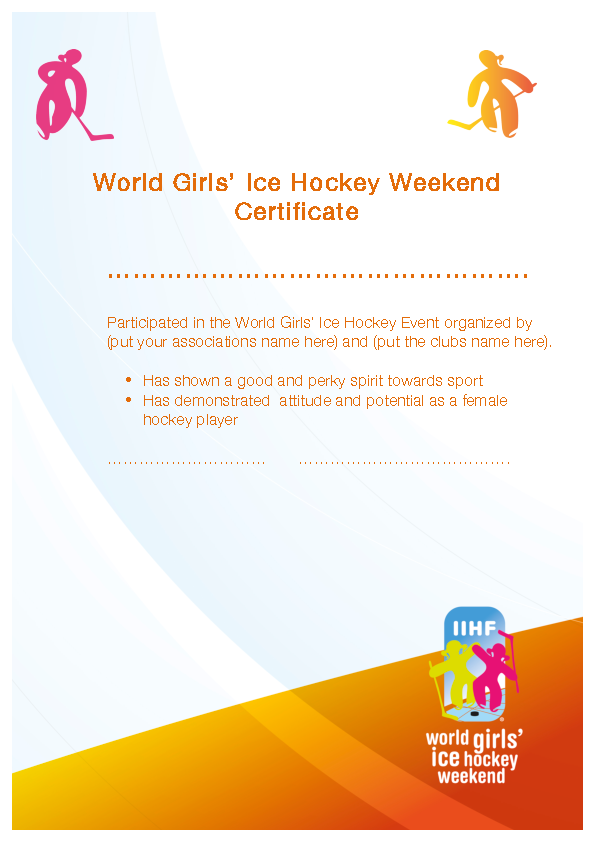 World Girls Ice Hockey Weekend Certificate