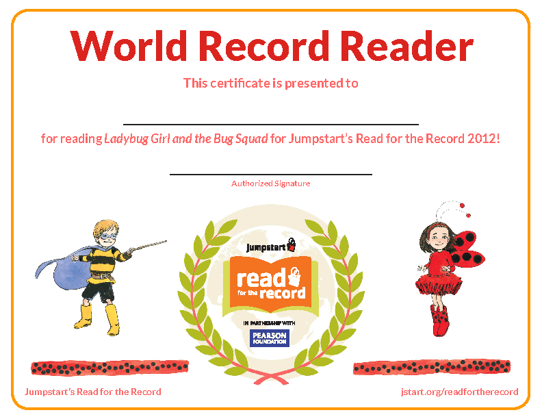World Record Reader Certificate