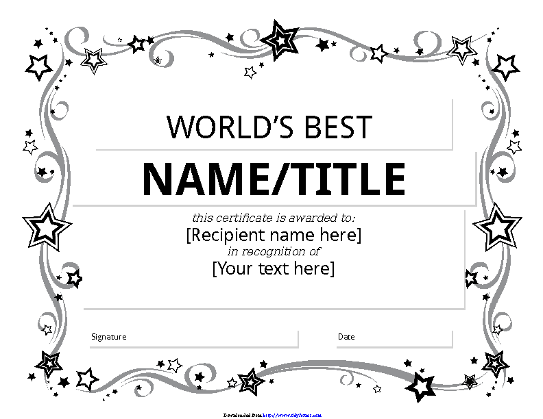 Worlds Best Award Certificate