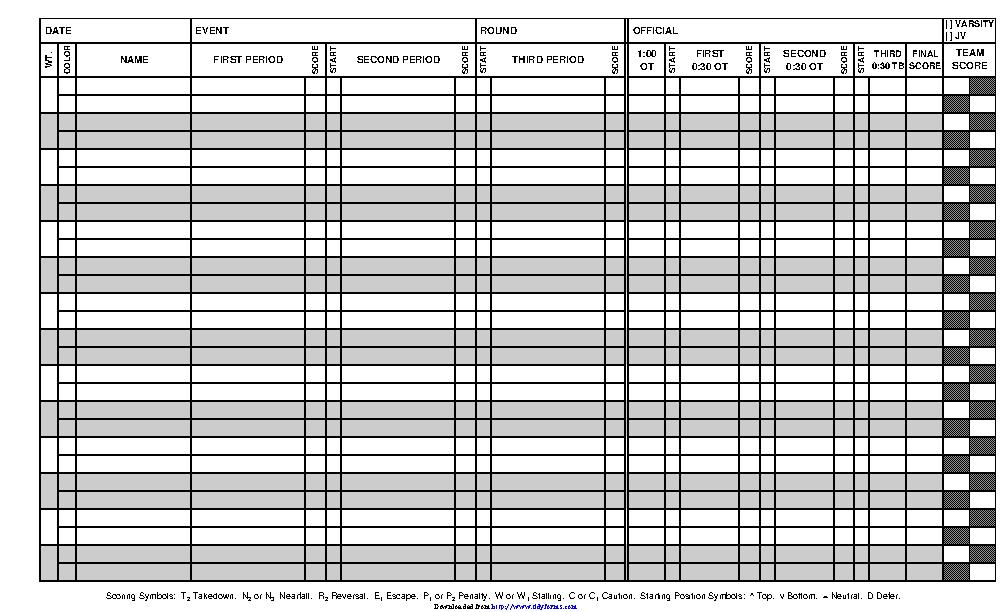 Wrestling Score Sheet 1