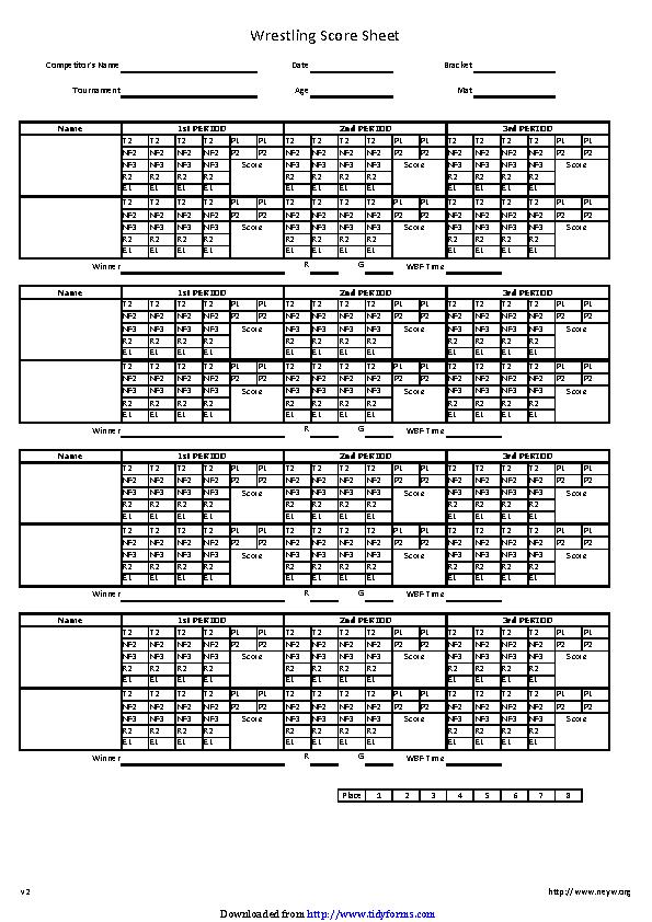Wrestling Score Sheet 2