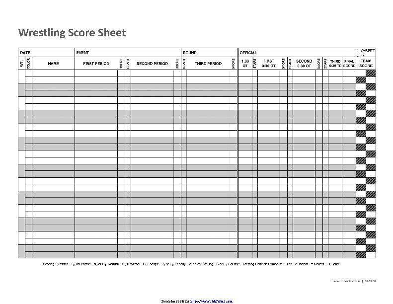 Wrestling Score Sheet 3