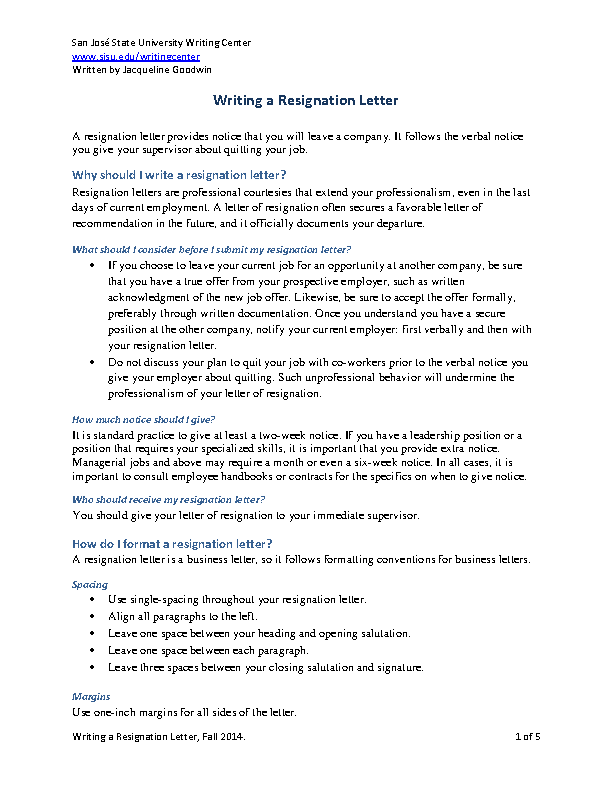 Writing A Resignation Letter Template Example - PDFSimpli